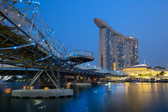 Singapore Marina Bay Skyline city at night Royalty Free Stock Photography