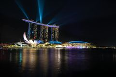 Singapore Marina Bay skyline with laser show. royalty free stock photography