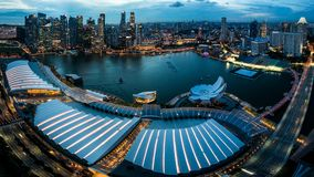 Singapore Marina Bay and skyline. From the Marina Bay Sands observation deck Stock Photography