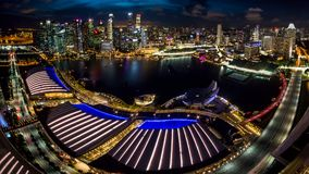 Singapore Marina Bay and skyline. From the Marina Bay Sands observation deck Stock Images