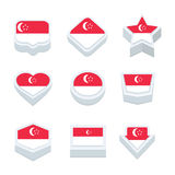 Singapore markeert pictogrammen en de knoop plaatste negen stijlen Royalty-vrije Stock Afbeelding