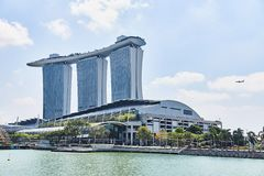 Singapore Singapore: Mars 19 2019: Marina Bay Sands Luxury Hotel Singapore royaltyfria bilder