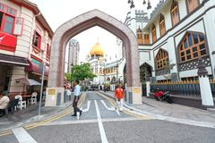 Singapore:Masjid Sultan Singapura Mosque. The magnificent 1924-28 Masjid Sultan Singapura Mosque in the Kampong Glam Arab Quarter is Singapore's most important Royalty Free Stock Photo