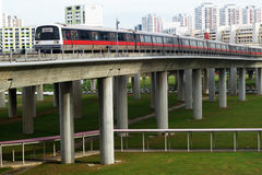 Singapore mass rapid train (MRT) travels on the track in Jurong Stock Photo