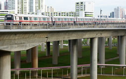 Singapore mass rapid train (MRT) travels on the track in Jurong Royalty Free Stock Images