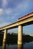 Singapore mass rapid train (MRT) travels on the track Royalty Free Stock Photo