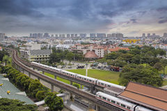 Singapore Mass Rapid Transit Station. In Eunos Area at Sunset Stock Photo