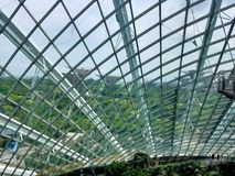 SINGAPORE - MAY 7, 2017: The Cloud Forest and Flower Dome exhibition structure royalty free stock photos