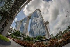 marina Bay Sands Singapore in Fisheye lens stock photo