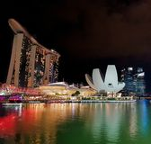 SINGAPORE, SINGAPORE - May 7, 2017: Marina Bay Sands luxury complex iconic architecture royalty free stock image