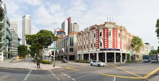 Singapore - May 1 2016: Panorama street view of Stamford intersection with Singapore Management University.  Stock Image