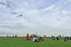Singapore - May 25, 2018: People, familys and children playing w stock image