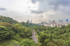 SINGAPORE - MAY 21,2016: Singapore city view from Henderson wave. Singapore city view from Henderson wave bridge at Mount Faber Park, The Henderson Waves bridge Stock Image