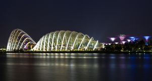 Singapore - May 1, 2015: Singapore riverside at twilight at Marina Bay.  Stock Photography