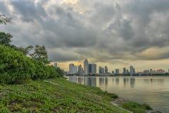 Sunset at the riverbank stock photos