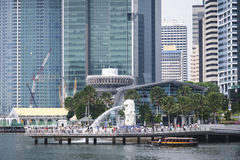 Merlion fountain singapore river marina bay Royalty Free Stock Photos