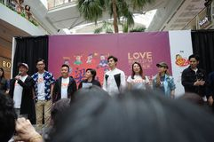 Singapore mediacorp celebrities. Singapore Love 97.2FM music station deejays on stage at Jurong Point shopping mall. Dennis Chew, Marcus Chen, Mark Lee, Chen stock images