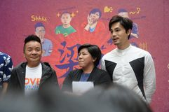 Singapore mediacorp celebrities. Singapore Love 97.2FM music station deejays on stage at Jurong Point shopping mall. From left to right - Markus Chen, Chen Biyu stock photo