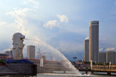 Singapore Merlion. Sentosa statue and skyline Royalty Free Stock Image