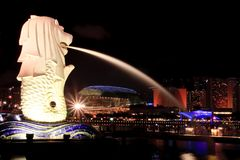 Singapore Merlion. Side view at Marina bay Stock Image