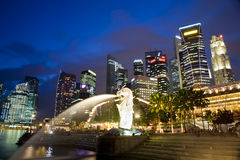 Singapore Merlion. Central business district (CBD) of Singapore with the Merlion Stock Photos