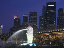 Singapore Merlion - Business District Stock Photo