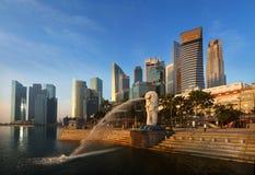 Singapore Merlion and Fullerton Park. Iconic Landmarks of Singapore, the Merlion, the CBD and Marina Buildings Royalty Free Stock Photo