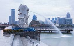 Singapore Merlion landmarks Stock Photos