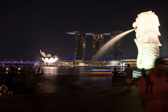 Singapore Merlion Marina Bay Sands Fotografia Stock Libera da Diritti