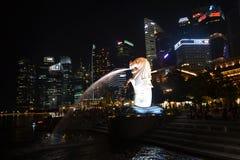 Singapore Merlion. The Singapore Merlion at Night Royalty Free Stock Photo