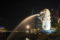 Singapore Merlion during night time stock image