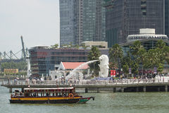 Singapore Merlion Park. SINGAPORE - AUGUST 28: Singapore Merlion Park Along the Mouth of Singapore River on August 28, 2010 is one of the top most visited Royalty Free Stock Photo