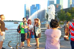Singapore : Merlion park. Merlion Park, a landmark of Singapore, is a major tourist attraction at One Fullerton, Singapore, near the Central Business District Royalty Free Stock Photos