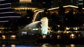Singapore Merlion Park At Night Stock Image