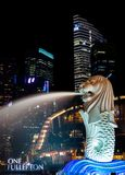 Singapore Merlion Park at Night Royalty Free Stock Photo