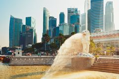 Singapore Merlion. SINGAPORE - SEPTEMBER 4: The Merlion statue in front of skyscrapes in tourist popular bay in Singapore on September 4,2014. Statue of a lion's Royalty Free Stock Image