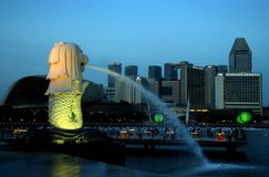 Singapore: The Merlion and Skyline Stock Photography