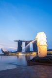 Singapore Merlion sunrise. Closeup of Singapore Merlion at Marina bay sunrise Stock Images