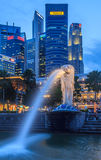 Singapore Merlion After Sunset Royalty Free Stock Photos