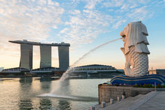 Singapore modern landmarks at dawn Stock Photos