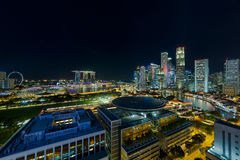 Singapore Modern Skyline by the River at Night Royalty Free Stock Photography