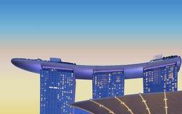 Singapore moderna abstrakta arkitektur och scyscrapers mot molnig himmel Royaltyfri Fotografi