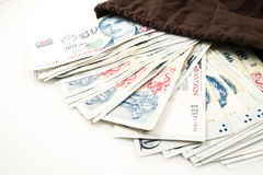 Singapore money in bag. On white Stock Images