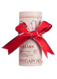 Singapore money gift. Ten Singapore dollars wrapped by ribbon isolated on white background Stock Photo