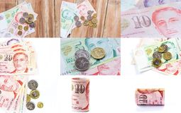 Singapore money on wooden table background Royalty Free Stock Photos