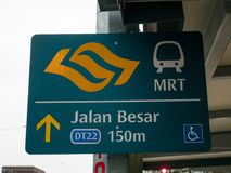 Singapore MRT Name Plate to Show the Direction stock photo