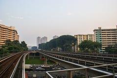 Singapore. MRT Train Tracks near Ang Mo Kio Station. Аpartment. Singapore. MRT Train Tracks on overpass near Ang Mo Kio Station. Аpartment buildings in the Stock Photography
