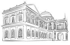 Singapore Nation Museum Tourist Vacation. Famous Destination Landmark, Hand drawn Vector Artwork Stock Photos