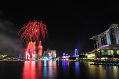 Singapore National Day 2012 Fireworks Royalty Free Stock Photo