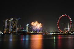 Singapore National Day 2012 Fireworks Royalty Free Stock Images